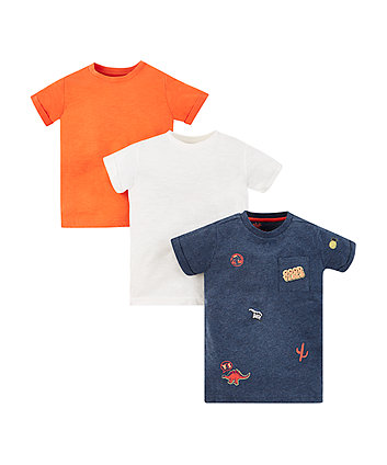 Mothercare Good Vibes, Orange And White T-Shirts - 3 Pack