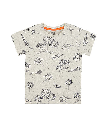 Mothercare Grey Palm Trees And Crocodiles T-Shirt