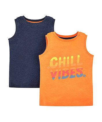 Mothercare Orange Chill Vibes And Navy Vests - 2 Pack