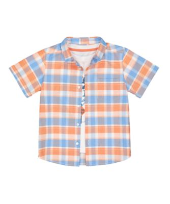 Mothercare West Coast Blue Check Shirt And Surf Short SleeveT-Shirt Set