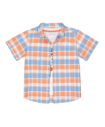 Mothercare Blue Check Shirt And Surf T-Shirt Set