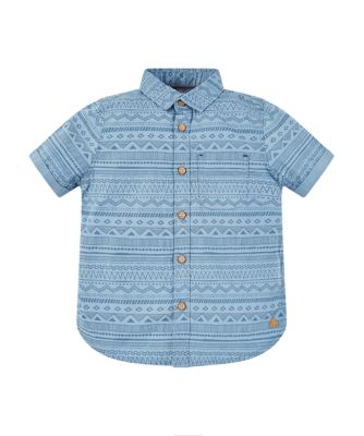 Mothercare Stay Wild Blue Aztec Print Short Sleeve Shirt