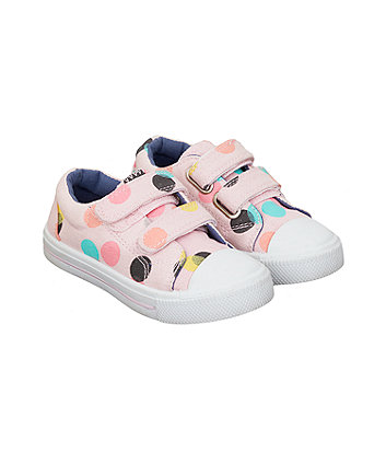 Mothercare White And Navy Ditsy Floral Trainers