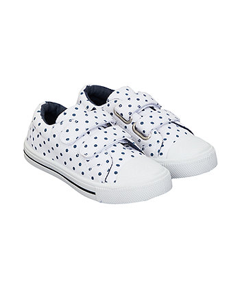 Mothercare White Navy Spot Trainers