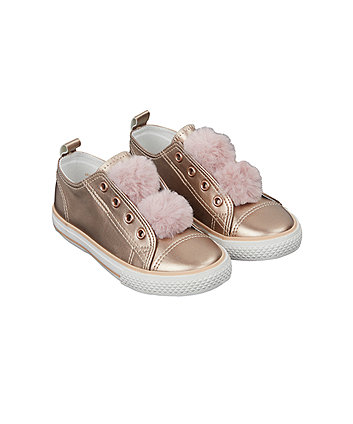 Mothercare Rose Gold Pom Laceless Trainers