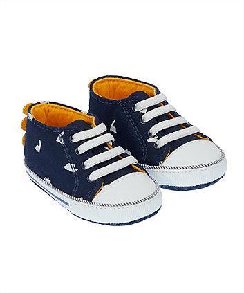 Mothercare Dinosaur Navy Canvas Pram Shoes