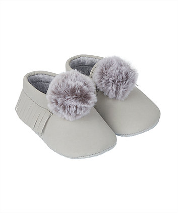 Mothercare Grey Pom Moccasin Pram Shoes