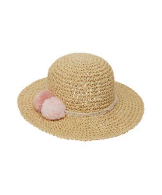 Mothercare Pink Pom Floppy Straw Hat