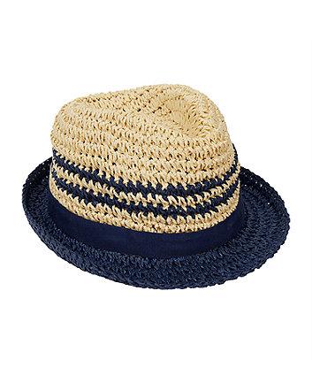 Straw Navy Stripe Trilby Hat