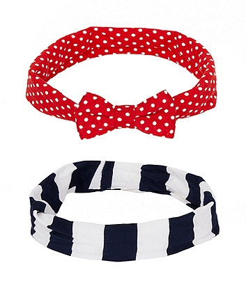 Mothercare Spot And Stripe Headbands - 2 Pack