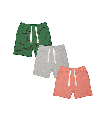 Dino And Stripe Shorts - 3 Pack