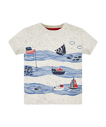 Boats And Waves Light Grey T-Shirt