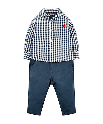 Mothercare Checked Shirt And Navy Trousers