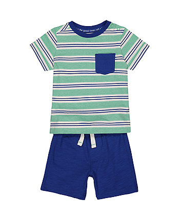 Mothercare Stripe T-Shirt And Blue Shorts Set