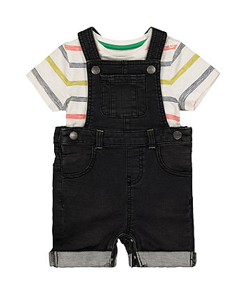 Mothercare Bibshorts And Stripe T-Shirt Set