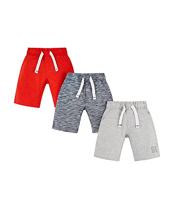 Mothercare Striped, Grey And Red Shorts - 3 Pack