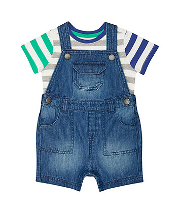 Mothercare Denim Bibshorts And T-Shirt Set