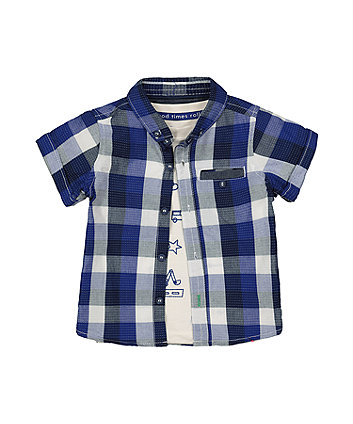 Mothercare Blue Check Shirt And Vehicle T-Shirt Set