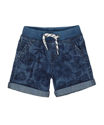 Mothercare West Coast Ribbed Waist Leaf Denim Shorts
