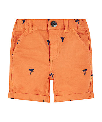 Mothercare Orange Palm Tree Embroidered Shorts