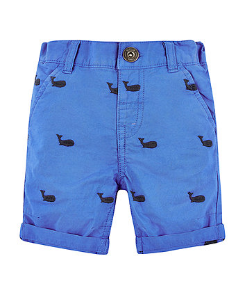Mothercare Blue Whale Embroidered Shorts