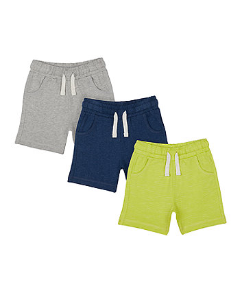 Mothercare Lime Striped Shorts - 3 Pack