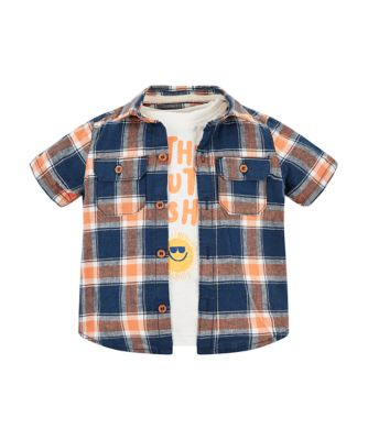 Mothercare West Coast Check Shirt And Sunshine T-Shirt Set