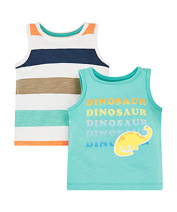 Mothercare Dinosaur And Stripe Vests - 2 Pack