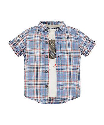 Mothercare Blue Check Shirt And Planet T-Shirt Set