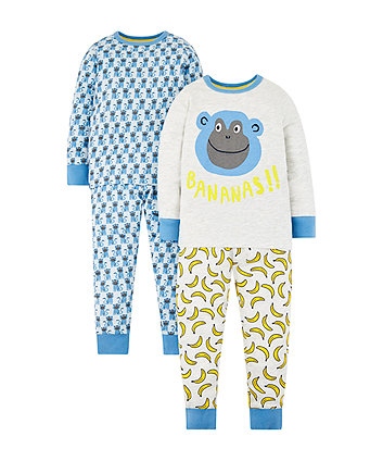 Mothercare Monkey Pyjamas - 2 Pack
