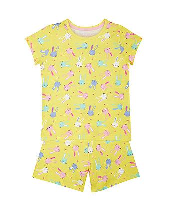 Yellow Bunny Shortie Pyjamas