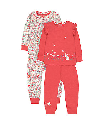 Bunny And Flower Pyjamas - 2 Pack