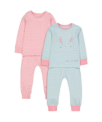 Bunny Striped Pyjamas - 2 Pack