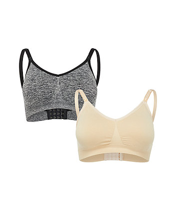 Mothercare charcoal and nude seam-free nursing bras - 2 pack