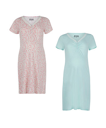 Floral Nursing Nightdresses - 2 Pack