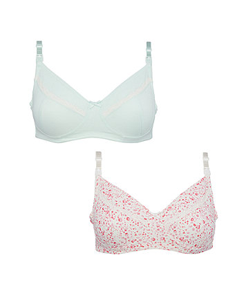 Mothercare Mint And Floral Nursing Bras - 2 Pack
