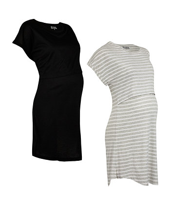Grey And Black Nursing Nightdresses - 2 Pack