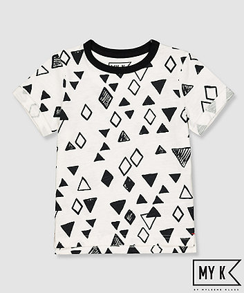 Mothercare My K White And Black Geometric Shapes T-Shirt