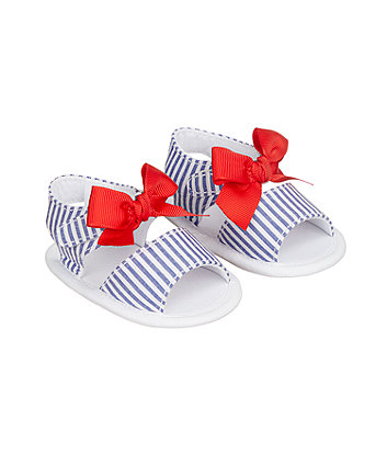 Mothercare Stripe And Bow Sandals