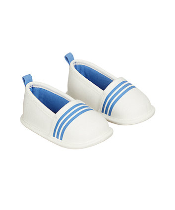 Mothercare White And Blue Stripe Pram Shoes