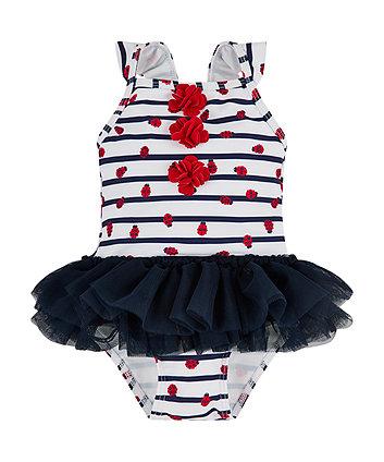 Ladybird Stripe Tutu Swimsuit