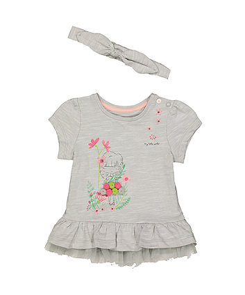 Mothercare Grey Floral Girl T-Shirt And Bow Headband Set