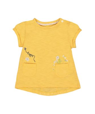 Mothercare Good Vibes Yellow Embroidered Crossover Short Sleeve T-Shirt