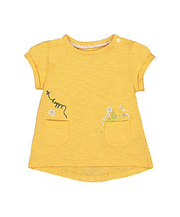 Mothercare Yellow Embroidered Crossover T-Shirt
