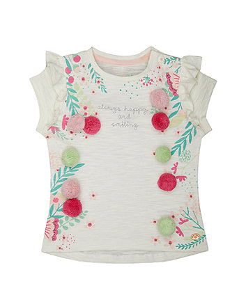 82e7a6c17229 mothercare λευκή μπλούζα με πον πον