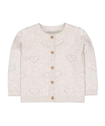 Mothercare Grey Pointelle Heart Cardigan