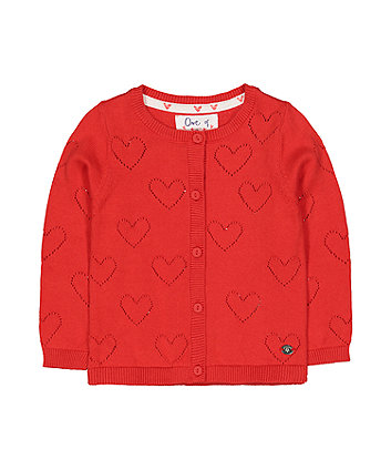 Red Pointelle Cardigan