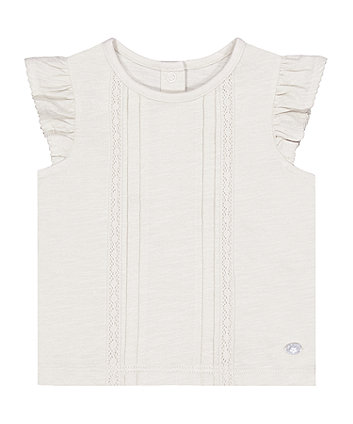 Mothercare White Frill Pintuck T-Shirt