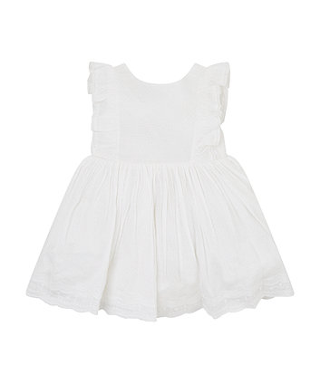 Mothercare White Embroidered Dress