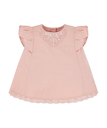 Mothercare Pink Dobby Lace Blouse